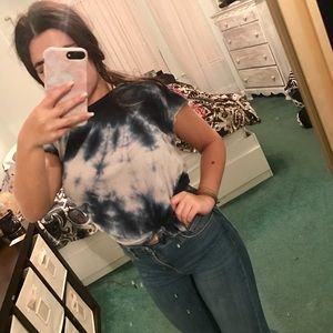 Blue and White tie dye top